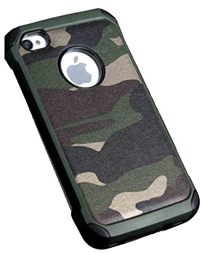BELLETAS iPhone 4s case,iPhone 4 Camo Cases,3 In 1 Plastic Leather and TPU Hybrid Slim Strong Hard Back Heavy Duty Shockproof Armor Camouflage Cover for iPhone 4/4s - Green
