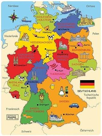 Bartl 101818 Deutschland Karte Holzpuzzle Bundeslander Hauptstadte
