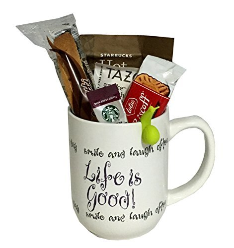 Coffee Tea Cocoa Mug Gift Set with Starbucks Via Coffee, Starbucks Hot Cocoa, Tazo Tea, Honey, Nonni's Biscotti + More ~Lots of Cup Styles~ (Life Is Good)