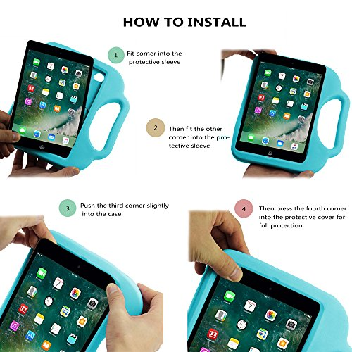 TabPow Suit & Tie iPad Mini Case - [Shockproof][Drop Protection][Heavy Duty] Cute Kids Children EVA Case Cover with Carrying Handle and Stand For iPad Mini and iPad Mini 2 with Retina, Turquoise Blue Photo #7