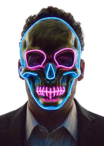Neon Nightlife Light Up Skull Mask, Scary Skeleton Death Mask, Halloween LED Grim Reaper Costume, Blue & Pink