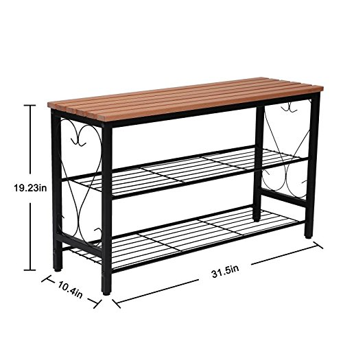 STRUGGLE Metal Shoe Bench with Seating Black Frame with Walnut Top 2-Tier Shoe Rack for Entryway Hallway Shoe Organizer