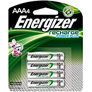 Energizer Rechargeable AAA Batteries, NiMH, 800 mAh, Pre-Charged, 4 count (Recharge Power Plus) - EVENH12BP4