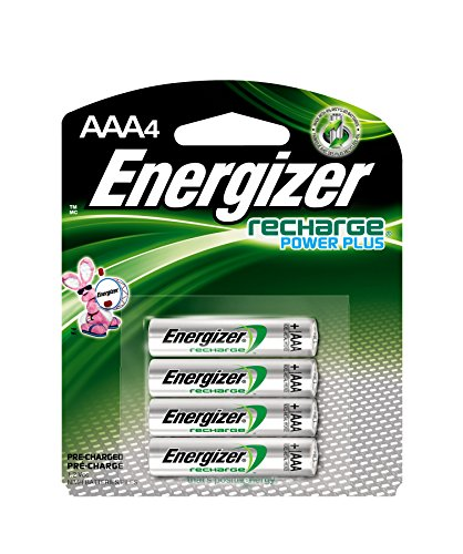 (Energizer Rechargeable AAA Batteries, NiMH, 800 mAh, Pre-Charged, 4 count (Recharge Power Plus) - EVENH12BP4)