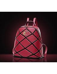 College wind backpack handbag fashion retro Plaid backpack , red