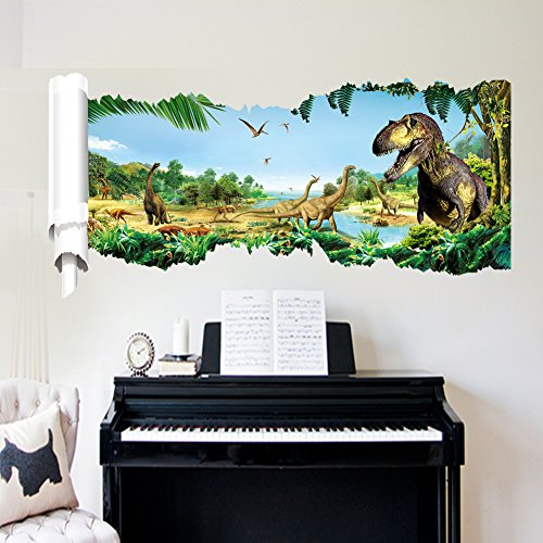Jurassic World Dinosaur Scroll Wall Decals Sticker for Bedro