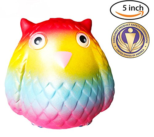 Dialeesi Squishies Slow Rising Cute Owl Nighthawk – Kawaii Squeeze Toy Pack 5 inch | Soft and Cream Scented Stress Reliever for Kids