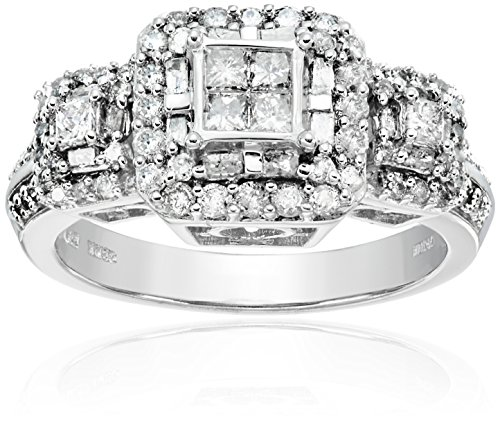 10K White Gold Princess Cut Center Diamond Engagement Ring (1 cttw), Size 6 by Amazon Collection