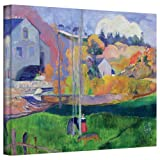 Paul Gauguin 'Brittany Landscape, the David Mill' gallery-wrapped canvas is a high-quality canvas print that captures a rural water wheel against a rolling landscape. A brilliant example of this post-impressionist master's work. Eugene Henri Paul Gau...