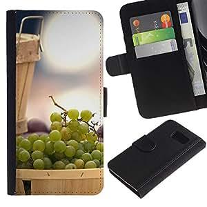 Billetera de Cuero Caso Titular de la tarjeta Carcasa Funda para Samsung Galaxy S6 SM-G920 / Fruit Mint Lemon / STRONG