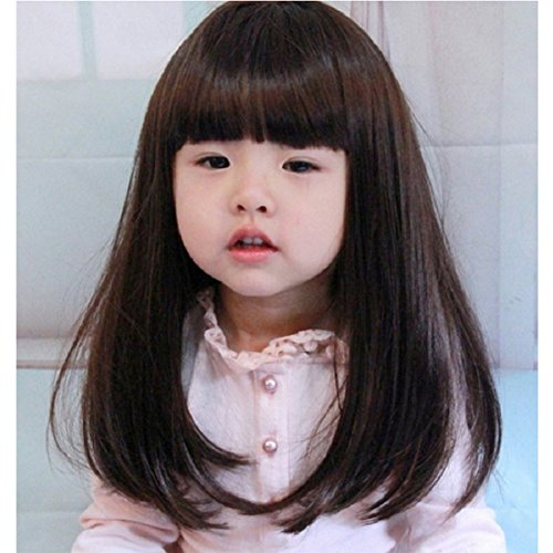 YYTA Short/Long Curly Wave Cosplay Wig Hair Adjustable Costume Synthetic Heat Resistant for 5-10 Years Children Girl + Free Mesh Wig Cap Hat (Brown Long Straight) -
