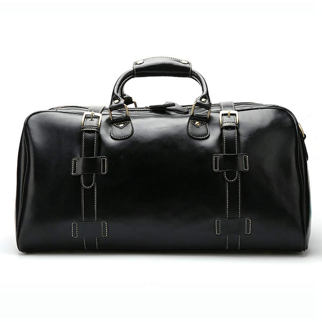 Color : Black RABILTY Business Hand Luggage Leather Travel Bag Large Capacity Short Trip Travel Duffel Holdall Bag for Men