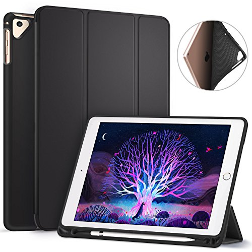 Ztotop Newest iPad 9.7 Inch 2018 Case with Pencil Holder - Lightweight Soft TPU Back Cover and Trifold Stand with Auto Sleep/Wake, Protective for Apple iPad 6th Generation(A1893/A1954), Black