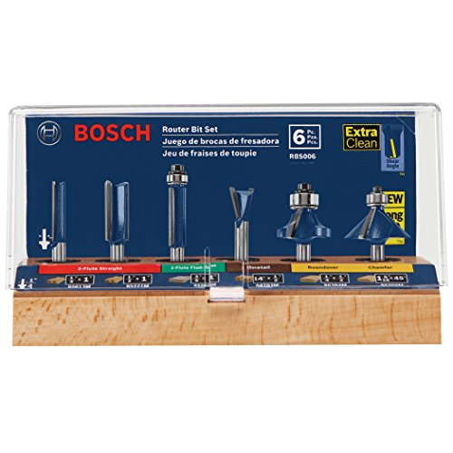 Bosch RBS006 1/4-Inch Shank Carbide-Tipped Multi-Purpose Router Bit Set, 6-Piece