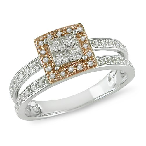 14K White Rose Gold, Diamond Ring, (.5 cttw, GH Color, I1-I2 Clarity), Size 6