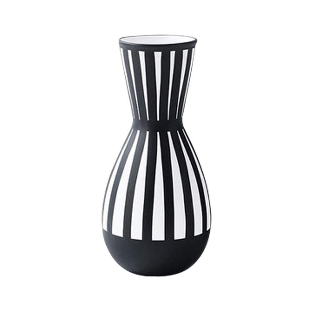 LIULIJUN シンプルなストライプセラミック花瓶乾燥フラワーデコレーションリビングルームのフラワーアレンジメントの装飾 B07T6F1VWB