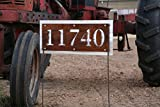 Rustic Metal Address Number Sign, House Number on Yard Stake