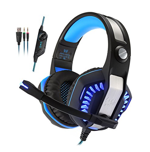 KOTION EACH G2000 2.0 Vibration Over-ear Gaming Headset with Mic 3.5mm, 2.2m Cable, Volume Control, LED Light Noise Reduction Headphones for Computer Games, PS4,Laptops, Tablet, Smartphones (Blue)