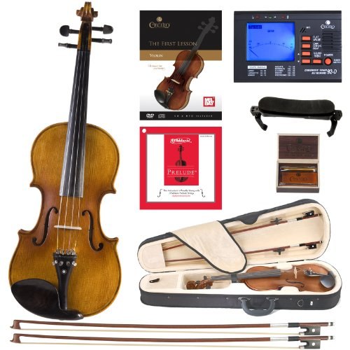 Cecilio CVN-500 Solidwood Ebony Fitted Violin with D'Addario Prelude Strings, Size 3/4 ()
