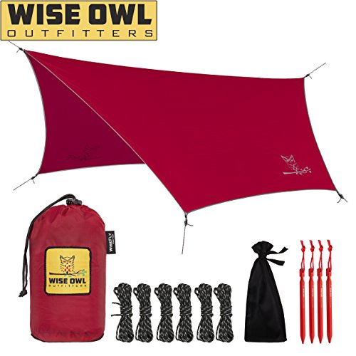 Wise Owl Outfitters Hammock Rain Fly Tent Tarp – The WiseFly Premium 11 x 9 ft Large Hex Waterproof Ripstop Nylon Camping Shelter Canopy Rainfly – Lightweight Camp Gear Accessories - Red