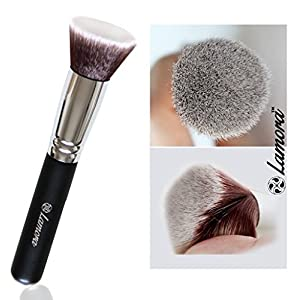 Make Up Brush Foundation Kabuki Flat Top - Perfect For Blending Liquid, Cream or Flawless Powder Cosmetics - Buffing, Stippling, Concealer - Premium Quality Synthetic Dense Bristles!