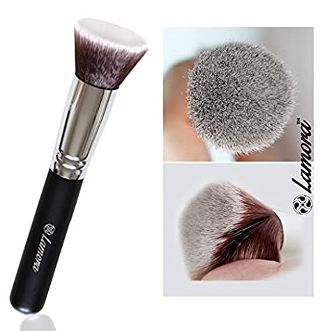 Kabuki Makeup Brush Set - Foundation Powder Blush Concealer Contour Brushes - Perfect For Liquid, Cream or Mineral Products - 10 Pc Collection With Premium Synthetic Bristles For Eye and Face Cosmetic Lamora Beauty