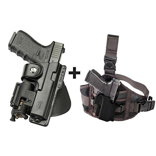 Fobus EM17 Paddle Black Tactical Retention Holster with Safety Strap for Ruger SR45, Ruger American Pistol .45cal full size + EXND Thigh Rig Platform
