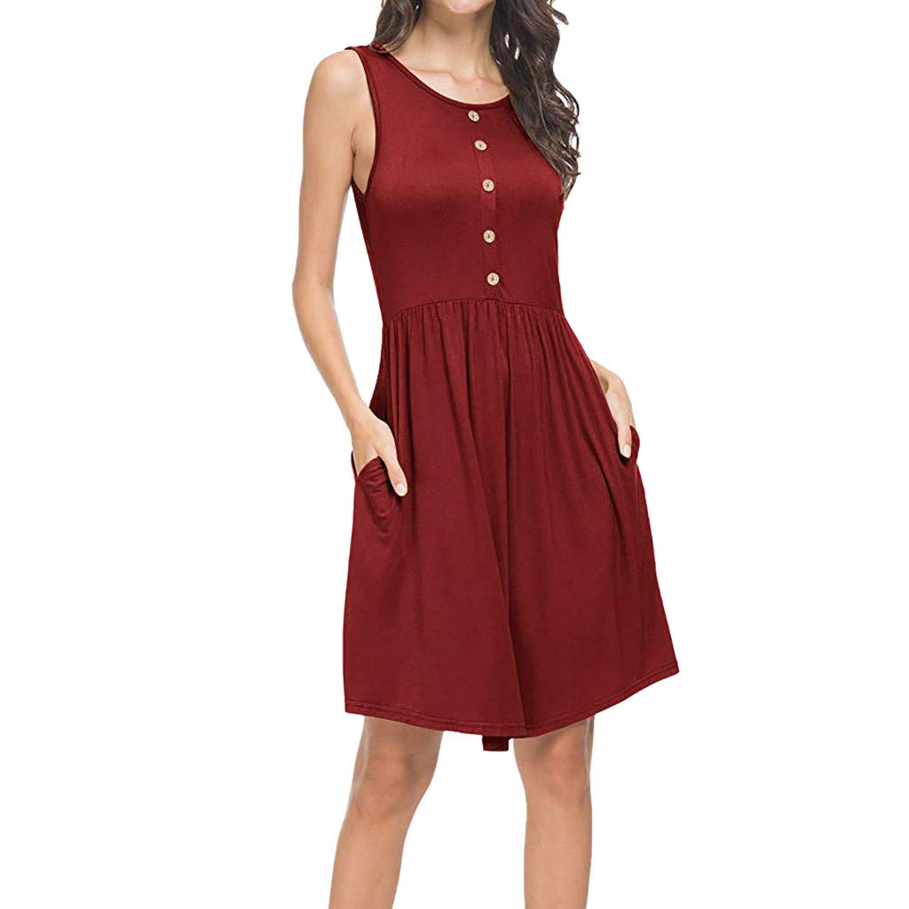 Women's Sleeveless Dresses Summer Casual Loose Swing T-Shirt Dress Pockets Button Solid Tank Dress Plus Size (L2, Red)