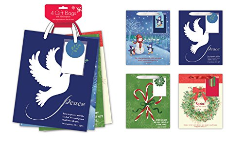 4 Pack of Medium Religious Christmas Gift Bags Xmas Giftbags - Religious Scriptures on Each Bag w/ Foil & Glitter Finishes
