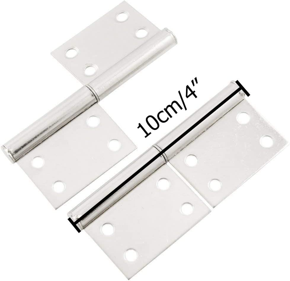 LDEXIN 4pcs 4 Stainless Steel Rotation Detachable Flag Lift Off Butt Hinges Silver Tone for Window Door Gate
