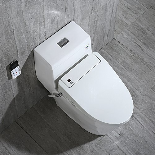 WoodBridge T-0008 Luxury Bidet Toilet, Elongated One Piece Toilet with Advanced Bidet Seat, Smart Toilet Seat with Temperature Controlled Wash Functions and Air Dryer by Woodbridgebath (Image #5)'