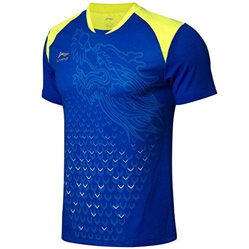 LI-NING Men Quick Dry Table Tennis T Shirt National Team Sponsor Breathable Sports Tees Blue AAYN175 L