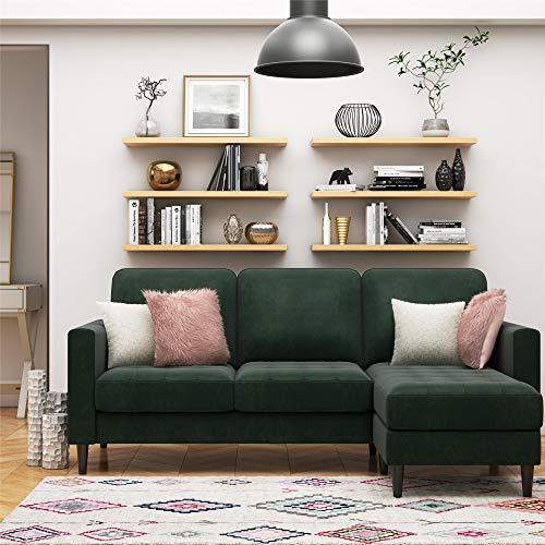CosmoLiving Strummer Modern Reversible Sectional Couch Upholstered in Green Velvet Fabric with Floating Ottoman (Sofa Vintage Velvet)