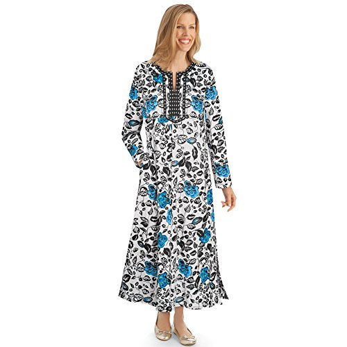 Women's Boho Floral Zip Front Knit Lounger Dress, Scoop Neck, Maxi, Black and Blue, Ivory, Medium ()