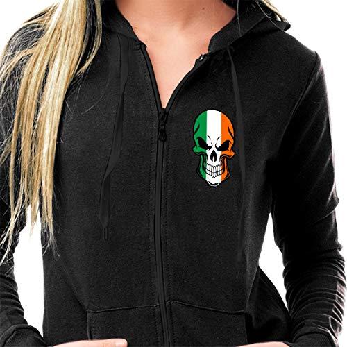 (HIPSTER STYLE Women Sport Workout Jacket Zip Up Yoga Running Hoodies Coat Sweatshirts - Ireland Irish Flag Cool Skull Black)
