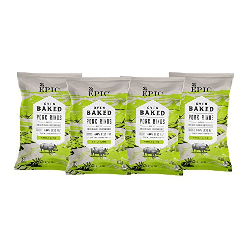 EPIC Chili Lime Baked Pork Rinds, Keto Consumer Friendly, 4 Count Box 2.5oz bags (Alternative To Peanut Oil For Frying Turkey)