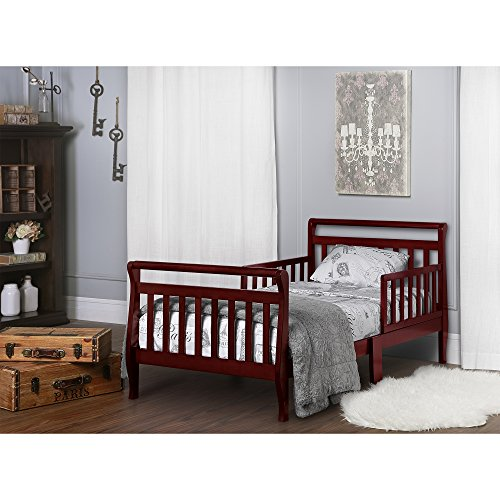 Sleigh Toddler Bed, Set Low for Comfort and Easy Access, Durable Solid Wood Platform, Slat Support, Easy-Assembly Tools Included, Headboard + Safety Rails, Kid Child Bedroom, Non-Toxic Finish, Cherry