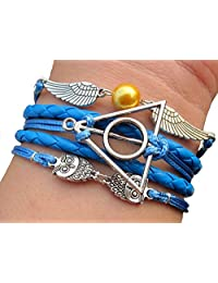 Joyplancraft Unique Harry Potter Inspired Bracelet Blue Rope with Deathly Hollows Owl Bracelet