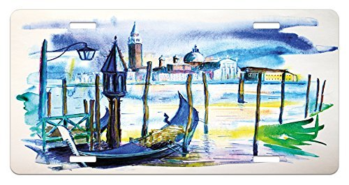 zaeshe3536658 Landscape License Plate, A View with Boat in Venice Italy Landmark Seascape Scenic Watercolor Paint, High Gloss Aluminum Novelty Plate, 6 X 12 Inches. by zaeshe3536658