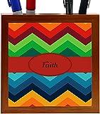 Rikki Knight Faith Name on Fall Colors Chunky Chevron Design 5-Inch Tile Wooden Tile Pen Holder (RK-PH45288)