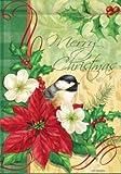 Elegant Merry Christmas Chickadee Poinsettia House Flag 28 x 40 Review