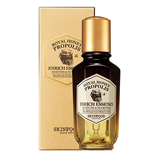 (SKIN FOOD Royal Honey Propolis Enrich Essence 1.69 fl.oz. (50ml) - 63% Black Bee Propolis & Royal Jelly Extract Contained Powerful Nourishing Facial Essence, Skin Moisturizing & Radiant)
