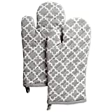 DII Cotton Lattice Oven Mitts, 13 x 7' Set of 2, Machine Washable and Heat Resistant Baking Glove for Everyday Kitchen Cooking-Gray