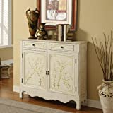 Powell White Hand Painted 2-Door Console