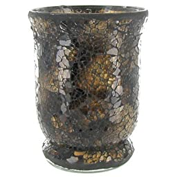 Brown Mosaic Glass Hurricane Candle Holder