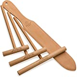 The ORIGINAL Crepe Spreader and Spatula Set - 4 Piece (7'', 5'', 3.5'' Spreaders and 14'' Spatula) Convenient Sizes to Fit Any Crepe Pan Maker | All Natural Beechwood Construction From Indigo True Company