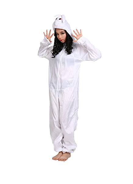 Disfraces de Animales Adultos Unisex Pijamas Traje de Disfraces Cosplay Onesies (Conejo Blanco)