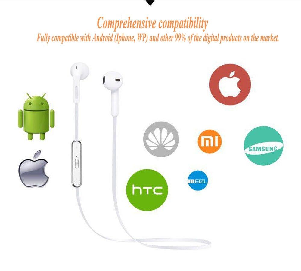 Auriculares Bluetooth Auriculares inalámbricos del oído S6 4.1 Función de Llamada de la música del Movimiento estéreo (Color : Negro): Amazon.es: ...