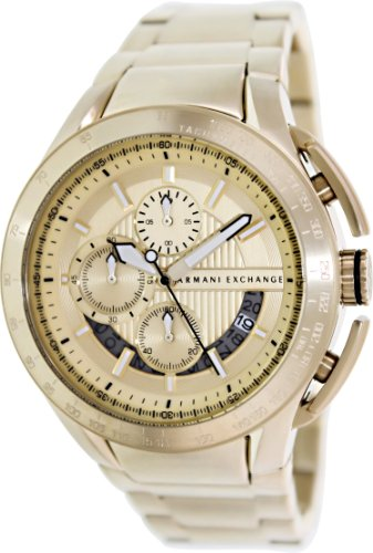 Armani Exchange Zero Light Chronograph Champagne Dial Gold-Plated Mens Watch AX1407