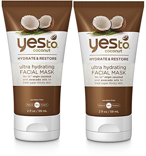 Yes to Coconut Ultra Hydrating Facial Mask (Pack of 2) with Aloe Leaf Juice, Coconut Oil, and Avocado Oil, 2 fl. oz.